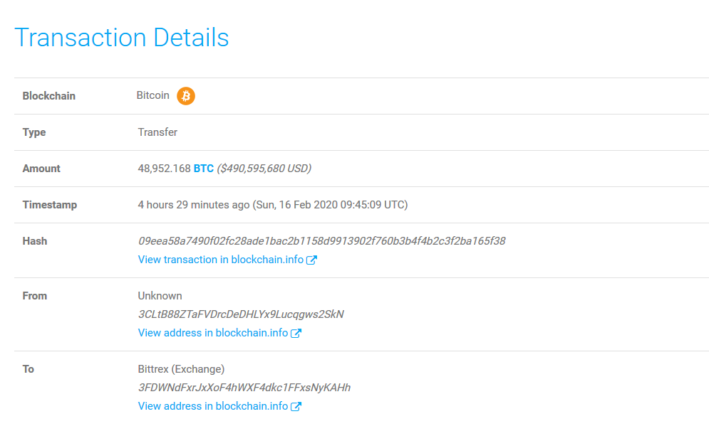 Whale Alert: 48,952 BTC (486,912,816 USD) Moved
