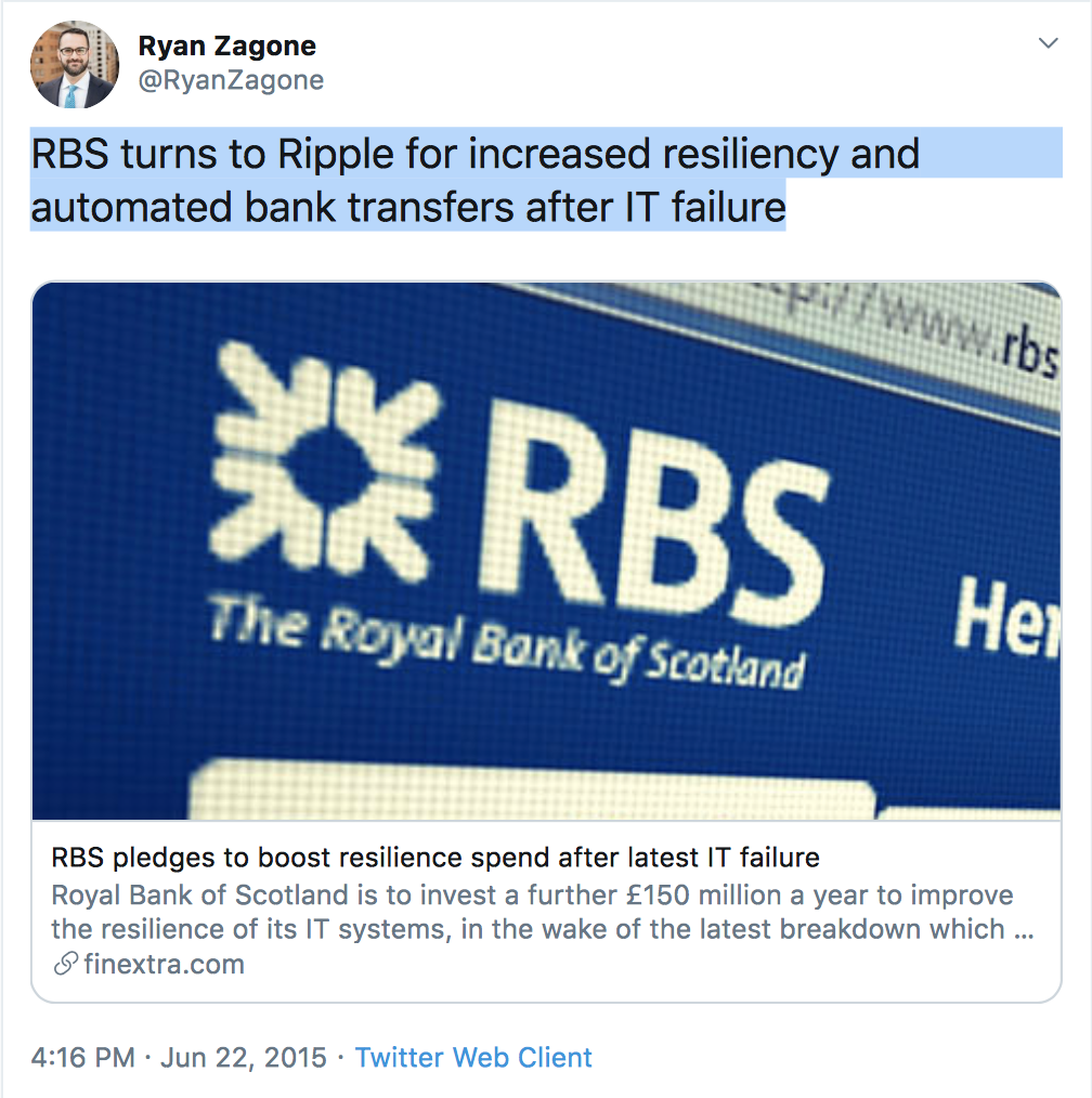 The Royal Bank of Scotland (RBS) is a Ripple's Customer. Find Out!