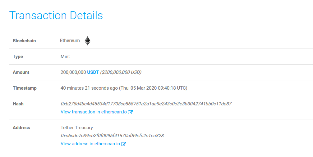 Chain Swap: 200M USDT from Binance Minted at Tether Treasury. Bitcoin (BTC) Price Spikes