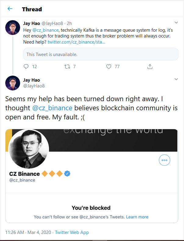 CZ Blocked CEO of OKEx on Twitter as Soon as Binance Hints at System Pause. Here is why
