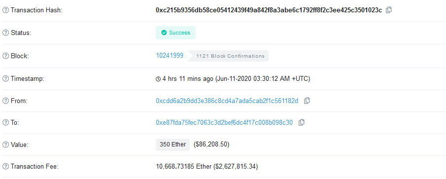 The Same Ethereum Whale Has Paid another $2.6M to Send 350 ETH