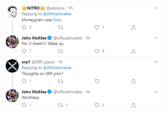 XRP Is Worthless, MoneyGram is Not Using It –John McAfee