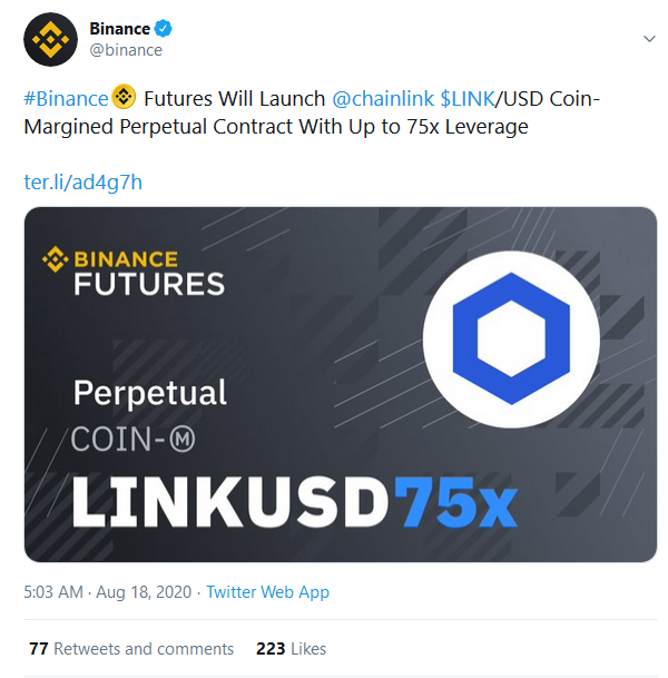 Binance to Launch LINK/USD Perpetual Contract With Up to 75x Leverage