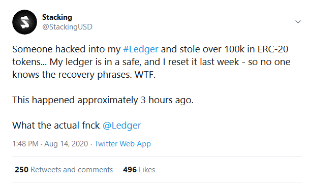 Trader Loses 100,000 in ERC-20 Tokens after His Ledger Wallet Got Compromised By Hackers