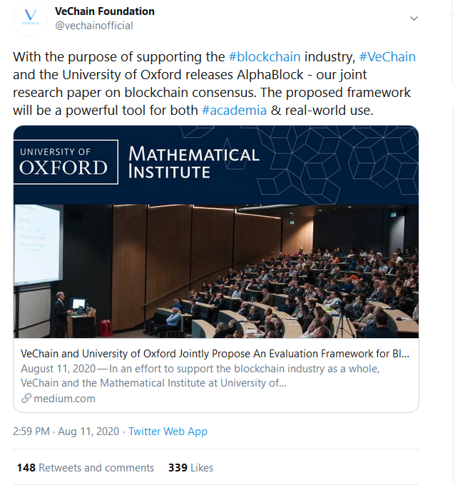 VeChain and University of Oxford in Joint Research to Support Blockchain Industry