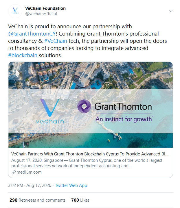 VeChain Partners with One of the World's Largest Professional Service Network to Provide Advanced Blockchain Solutions