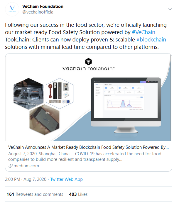 VeChain Launches a Market-Ready Blockchain Food Safety Solution