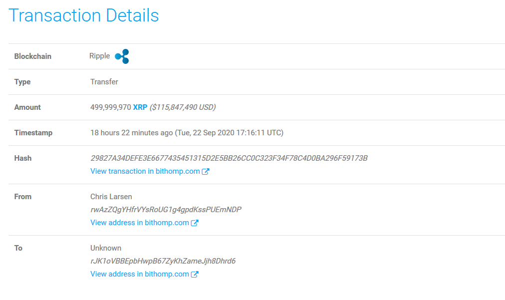 Ripple Co-Founder Chris Larsen Moved about 500,000,000 XRP worth $116 Million to Unknown Wallet