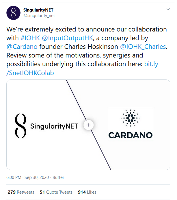 AI Platform SingularityNET Announces Plan to Move from Ethereum to Cardano in Collaboration with IOHK