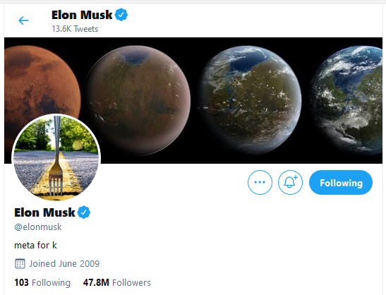 """Elon Musk Just Changed His Twitter Bio To """"meta for k"""", Is He Really Trolling Cardano (ADA)?"""