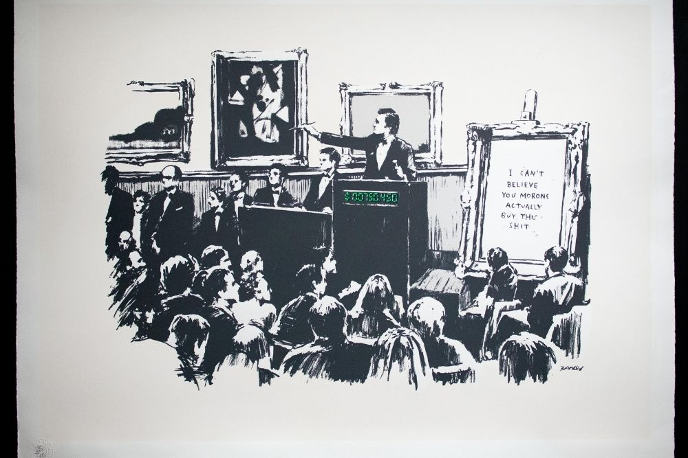 """""""Morons"""" Banksy's Artwork Burned in Real Life Was sold $417,000 worth of Ethereum (ETH)"""