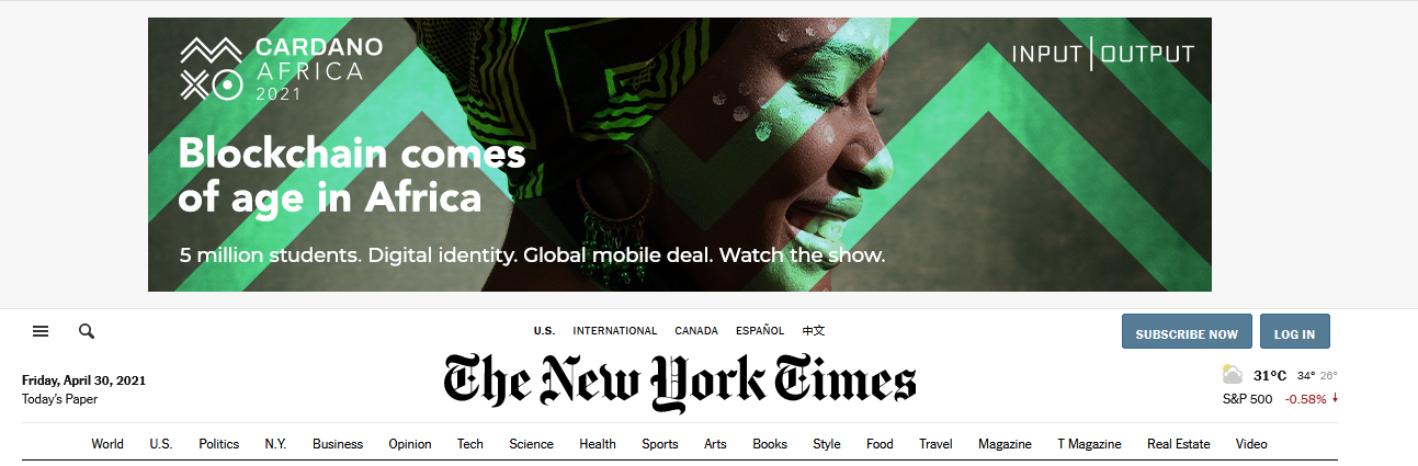 Cardano-Africa Advert Currently On New York Times Homepage