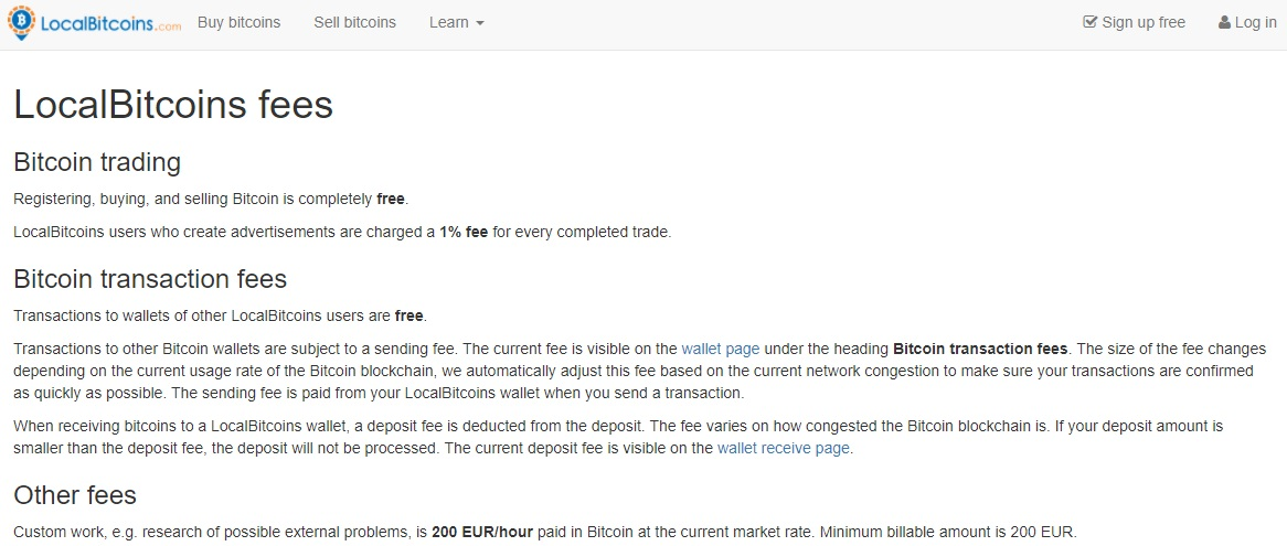 Fees on LocalBitcoins